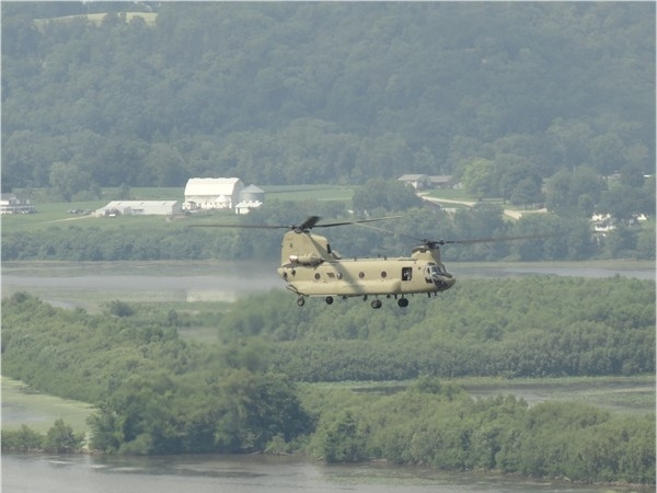 CH-47/MH-47 Chinook Helicopter at eye level looking out from the bluff at Eagle Point Park