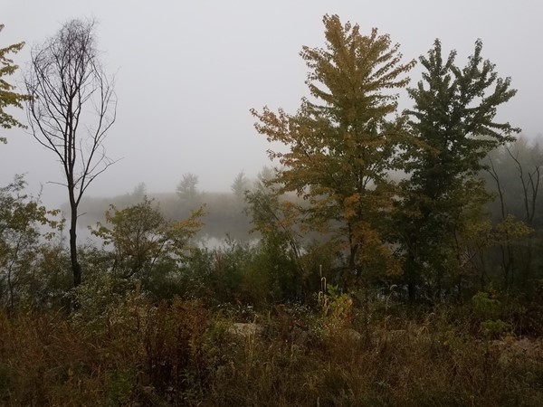Foggy and still morning at Big Woods Lake. Summer is winding down as fall moves in