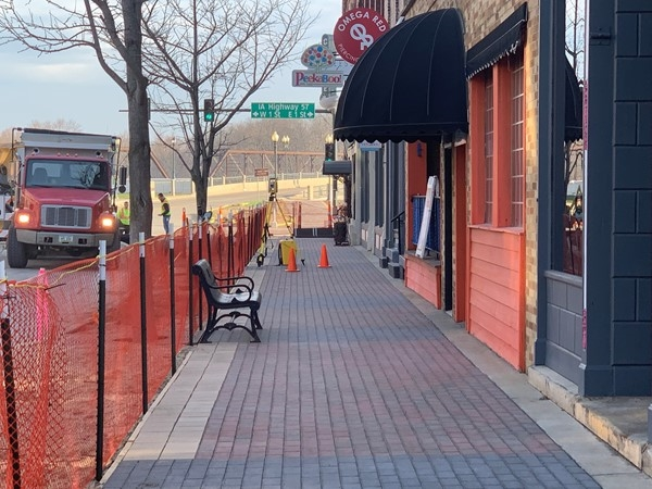 A new brick sidewalk is being installed in the 100, 200, and 300 blocks of Downtown Cedar Falls