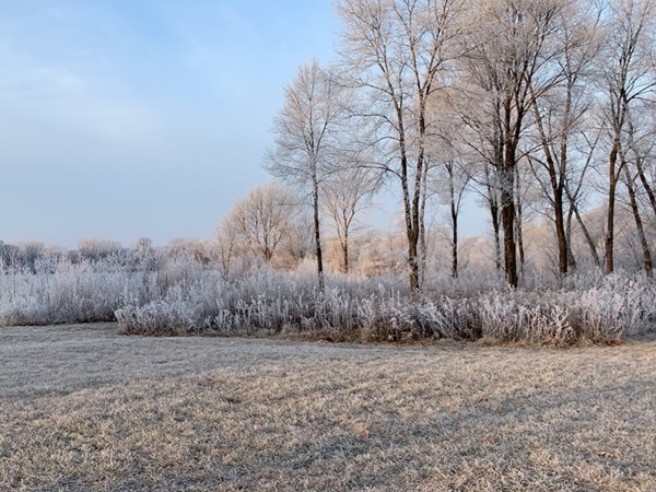 Frost covering Big Woods Lake in the morning is beautiful
