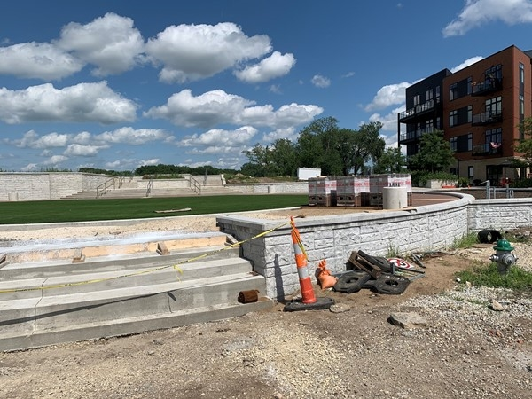 New stairs are completed in the event arena on the corner of 2nd and State in downtown Cedar Falls