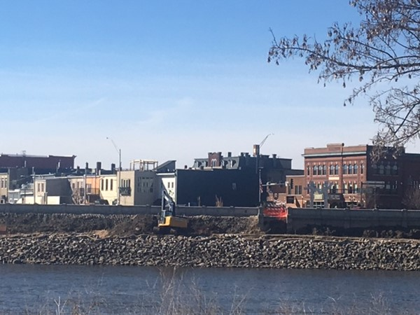 Work of the flood wall renovation has begun around downtown Cedar Falls