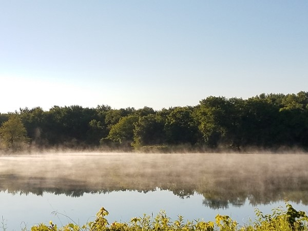 Big Woods Lake is on fire this morning. The cool morning and water have created a steam