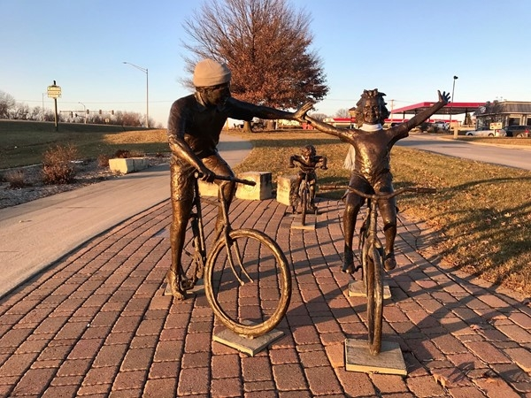 These bicycle statues greet visitors to Newton out by Restaurant Row near I-80 and Hwy 14