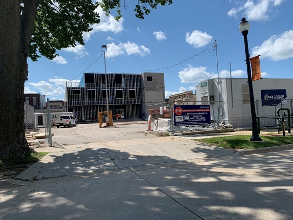 New commercial building downtown Cedar Falls will have great parking at the back of the property