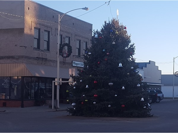 Christmas tree on Main Street in Dike
