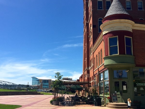 View of Star Brewery patio and Convention Center on the Mississippi